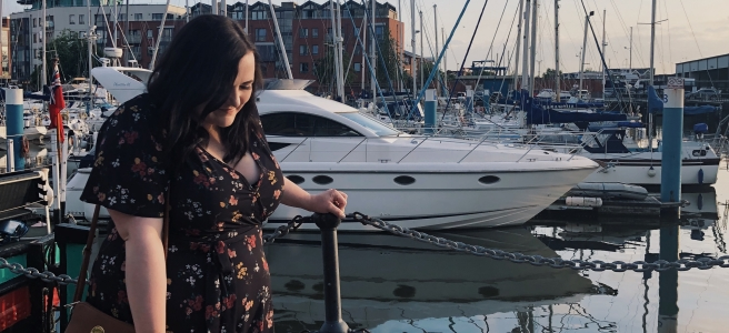 Lizzie Florence Night out at the Marina wearing plus size Pink Clove Midi Dress