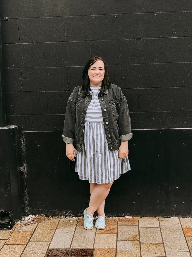 Plus size Missguided stripy smock dress black denim jacket
