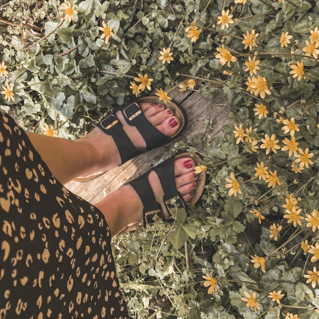 Sandals on a Yellow flower bed