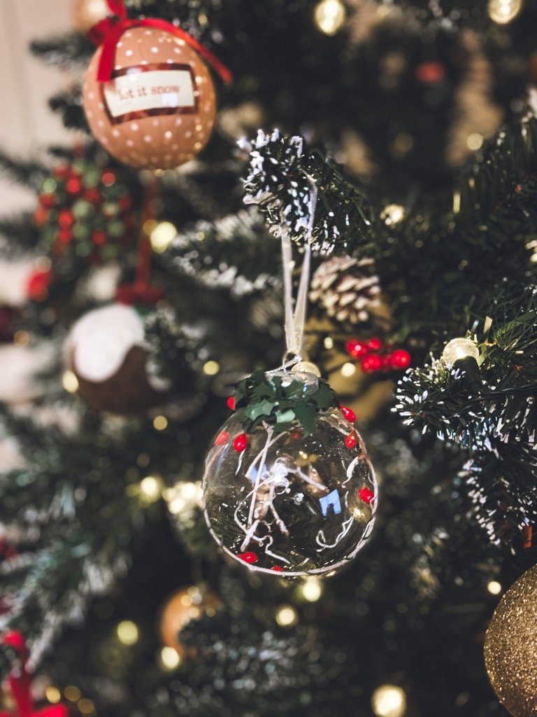 Close up of Christmas baubles on a tree