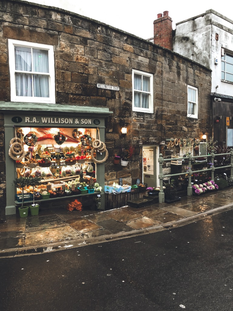 Shop in Whitby with Christmas Decorations